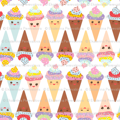 Ice cream cone Kawaii funny Ice cream waffle cone, muzzle with pink cheeks and winking eyes, pastel colors on white background. illustration