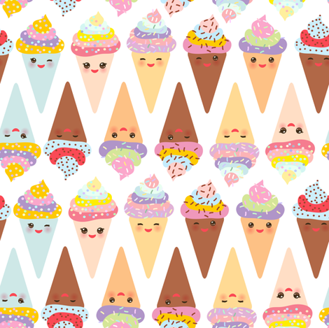 Ice cream cone Kawaii funny Ice cream waffle cone, muzzle with pink cheeks and winking eyes, pastel colors on white background. illustration fabric by ekaterinap on Spoonflower - custom fabric