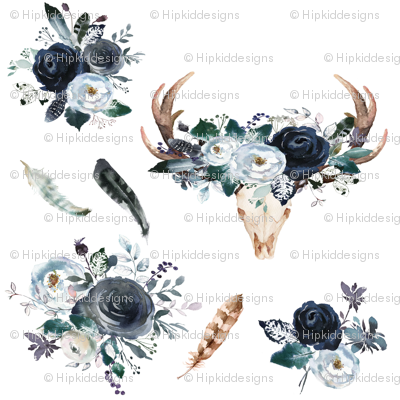 Boho Navy Deer Head Florals