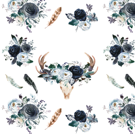 Boho Navy Deer Head Florals fabric by hipkiddesigns on Spoonflower - custom fabric