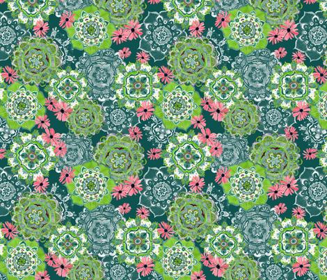 Mandala Medley Teal fabric by katebillingsley on Spoonflower - custom fabric