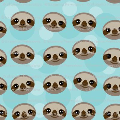 kawaii pattern Three-toed sloth muzzle on blue background.