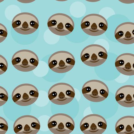 kawaii pattern Three-toed sloth muzzle on blue background.  fabric by ekaterinap on Spoonflower - custom fabric