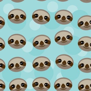 kawaii pattern Three-toed sloth muzzle on blue background.