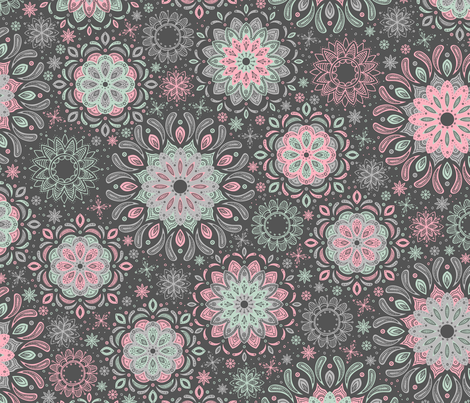 Zen Garden (Pink and Mint Dark) fabric by robyriker on Spoonflower - custom fabric