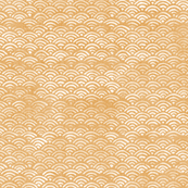 Japanese Block Print Pattern of Ocean Waves, Japanese Waves Pattern in Yellow Ochre, Gold Boho Print, Beach Fabric