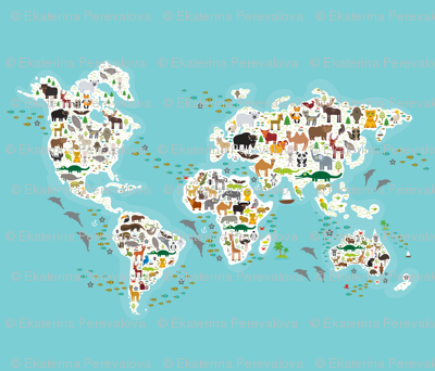 Cartoon World Map For Children And Kids Animals From All Over The