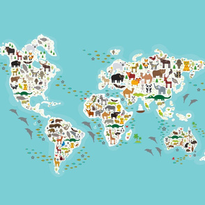 Cartoon world map for children and kids, Animals from all over the world, continents and islands on blue background of ocean and sea. blanket