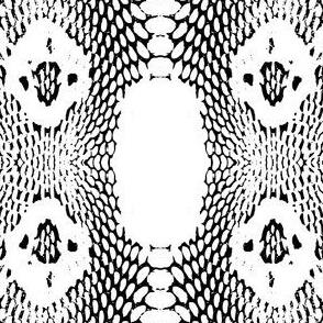 cobra snake Seamless pattern skin texture. black on white background. illustration