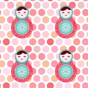 matryoshka russian doll kids pink polka dot pattern, pink blue green colors colorful bright, pattern. illustration