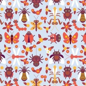 Funny insects Spider butterfly caterpillar dragonfly mantis beetle wasp ladybugs seamless pattern on blue background with flowers and leaves. illustration