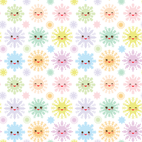 Snowflakes Christmas design seamless pattern, Kawaii snowflake set blue mint orange pink lilac funny face with eyes and pink cheeks on white background fabric by ekaterinap on Spoonflower - custom fabric