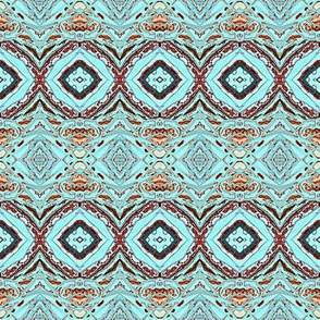 Turquoise and Rust Diamond Stripe