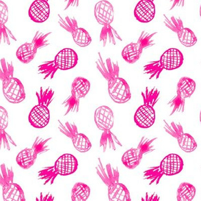 Watercolor pink pineapples