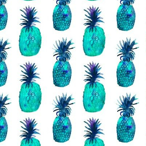 Watercolor turquoise blue pineapples