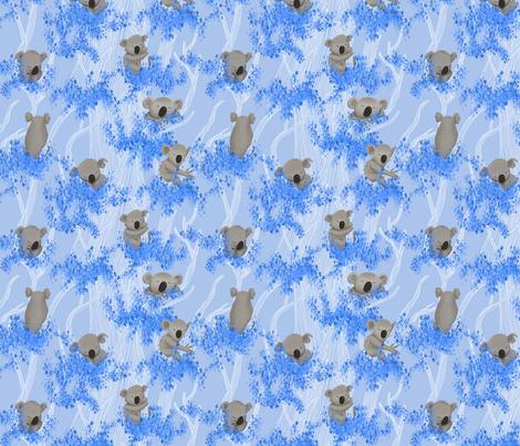 Sleeping Koala Bears on blue Eucalyptus Trees and Background fabric by pinmintprint on Spoonflower - custom fabric
