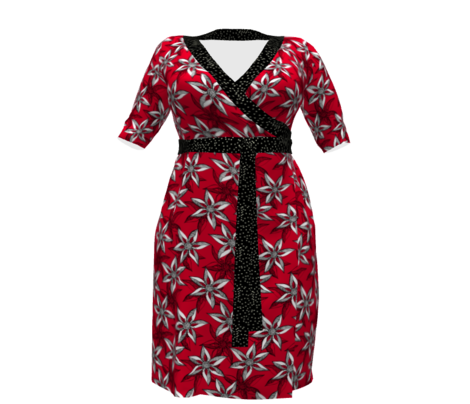 Love Blooms  With Passion - White on Carmine with Black