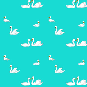 Swans without hearts on background