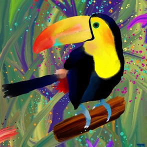RAINFOREST TOUCAN BIRD LARGE  EXOTIC FLOWERS JUNGLE