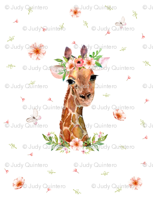 "2 YARDS / 56"" X 72"" / FLORAL GIRAFFE"