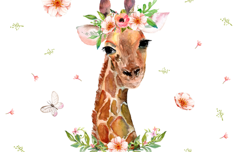 "2 YARDS / 56"" X 72"" / FLORAL GIRAFFE fabric by shopcabin on Spoonflower - custom fabric"