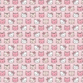 Pink Cat Cats  Faces with Bows and Hearts on  Pink Tiny Small