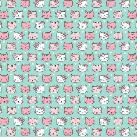 Pink Cat Cats  Faces with Bows and Hearts on Mint Green Tiny Small fabric by caja_design on Spoonflower - custom fabric