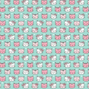 Pink Cat Cats  Faces with Bows and Hearts on Mint Green Tiny Small