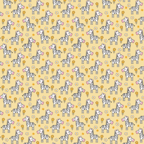 Zebra Horse With Flowers  Floral On Yellow Tiny Small fabric by caja_design on Spoonflower - custom fabric