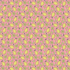 Lemon Citrus on Pink Tiny Small