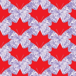 Lavender Butterfly Trellis on bright red