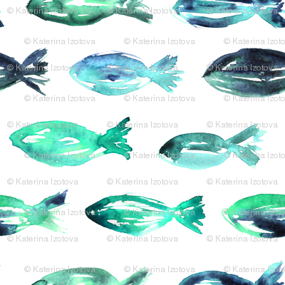 Watercolor emerald fish