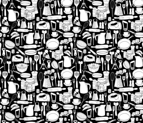 I Need To Stop Buying Kitchen Stuff-Black fabric by carambola_pattern_design on Spoonflower - custom fabric