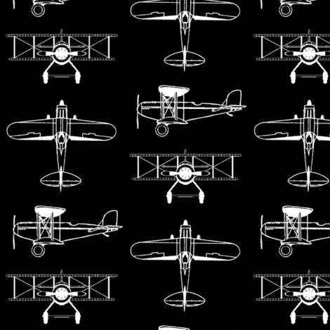 Biplanes on Black // Small fabric by thinlinetextiles on Spoonflower - custom fabric