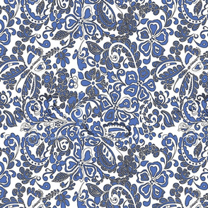 butterfly floral in blue and gray on white