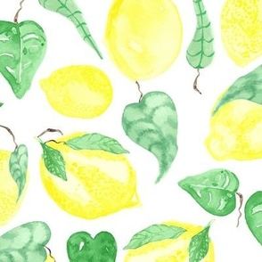 Lemon tree fruit tropical watercolor food citrus_Miss Chiff Designs