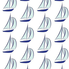 Nautical Sail Boats Sailing Water Mint Navy Blue