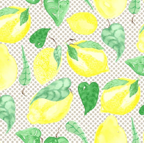 Lemon Fruit Tree Watercolor Food on Beige Polka Dot Food_Miss Chiff Designs f...