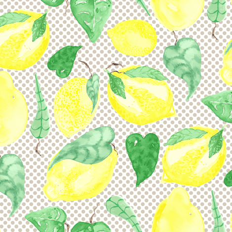 Lemon Fruit Tree Watercolor Food on Beige Polka Dot Food_Miss Chiff Designs fabric by misschiffdesigns on Spoonflower - custom fabric