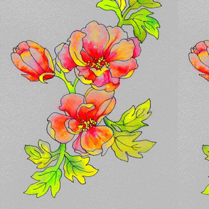 Neon Flowers Gray Background