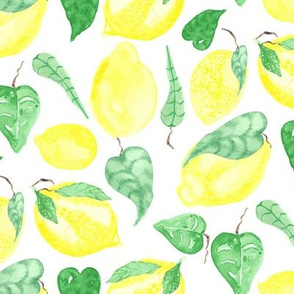 Lemon Tree Tropical Leaf Fruit Food Yellow Watercolor_Miss Chiff Designs