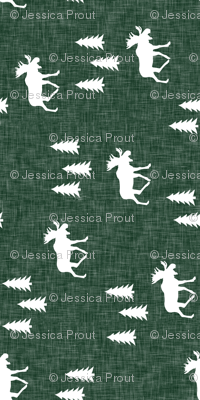 (small scale) moose and trees green linen (90)