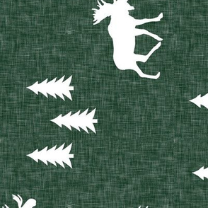 moose and trees green linen