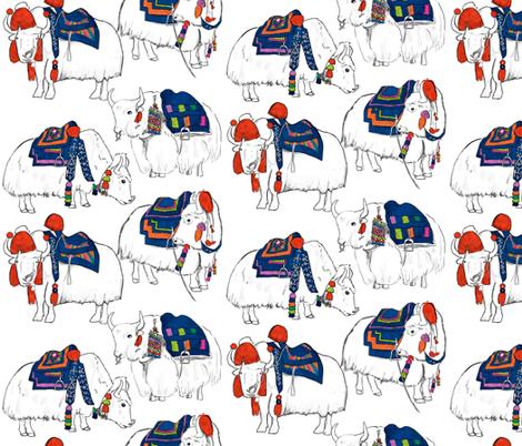 Tibetan Yaks in Color fabric by landpenguin on Spoonflower - custom fabric