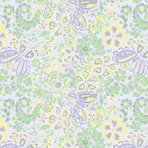 butterfly floral in pale lavender and green