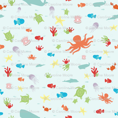 Under the sea fabric calobeedoodles spoonflower for Children of the sea fabric