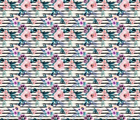 Victoria Floral Stripe S fabric by crystal_walen on Spoonflower - custom fabric