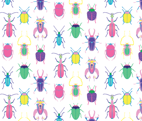 Pop Art Beetles Light Big fabric by pinkowlet on Spoonflower - custom fabric