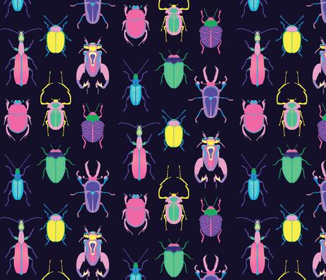 Pop Art Beetles Dark Big fabric by pinkowlet on Spoonflower - custom fabric