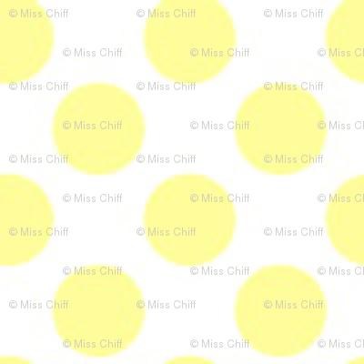 16-13J Lemon Yellow Polka Dot Fruit on White_Miss Chiff Designs